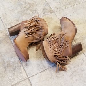 Frye Shoes - NWT FRYE NEW LEATHER SUEDE FRINGE TAN BOOTIES